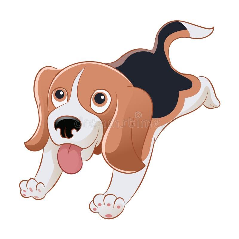 Beagle. Vector image of an cartoon smiling beagle stock illustration