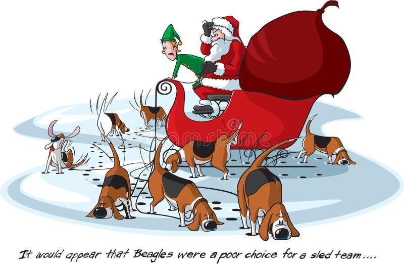 beagles s Santa royalty ilustracja