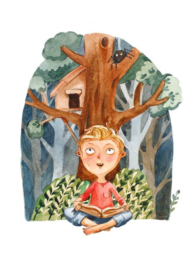 beak dekoracyjnego latającego ilustracyjnego wizerunek swój papierowa kawałka dymówki akwarela Chłopiec marzy o adwencie z książk ilustracji