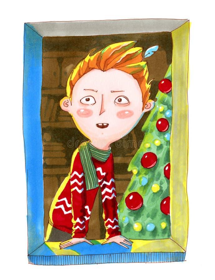 beak dekoracyjnego latającego ilustracyjnego wizerunek swój papierowa kawałka dymówki akwarela Imbirowa biała chłopiec w czerwony ilustracja wektor