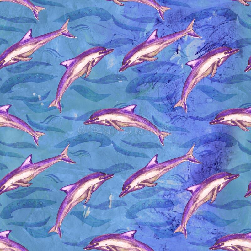 Beaked pospolity delfin w purpurowej kolor palecie, ręka malująca akwareli ilustracja, bezszwowy wzór na błękitnej ocean powierzc royalty ilustracja