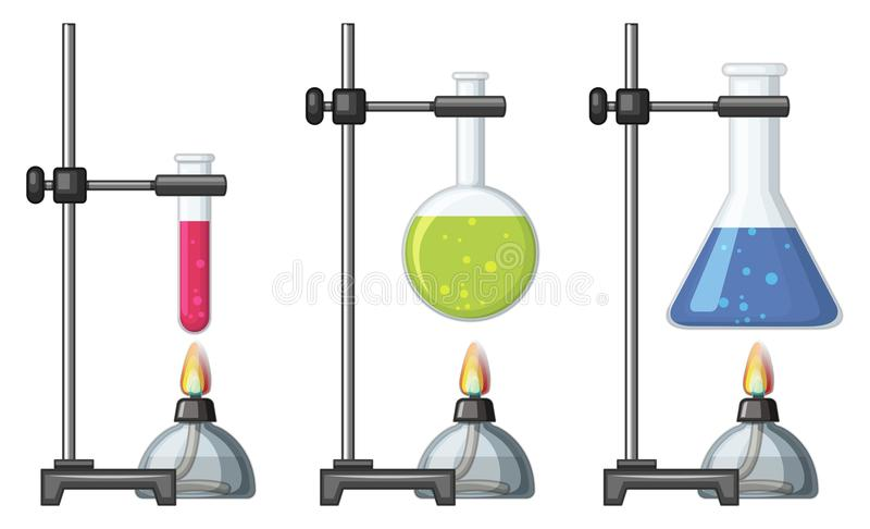 Beakers with chemical and burner. Illustration stock illustration