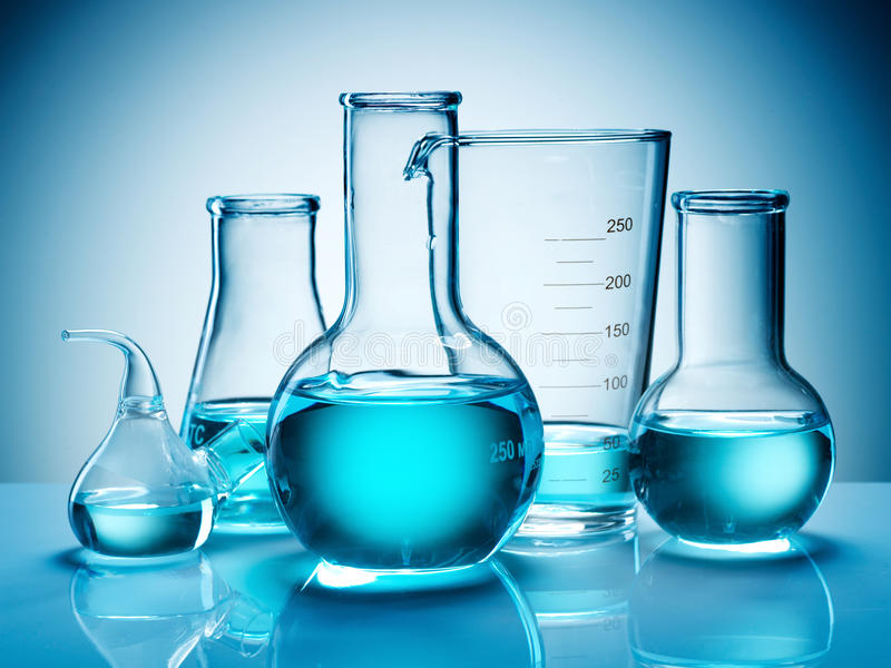 Beakers and flasks royalty free stock photos