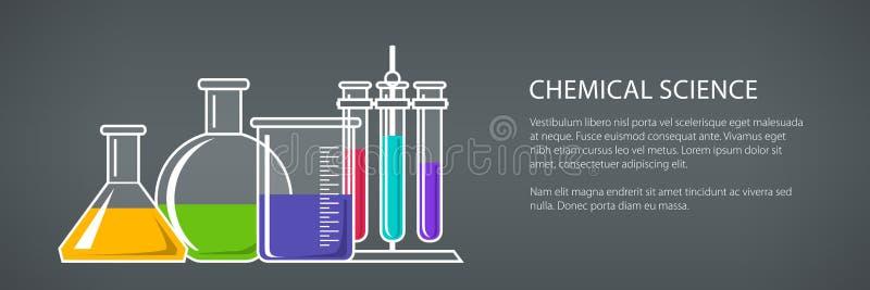 Beakers and Test-tube, Banner vector illustration