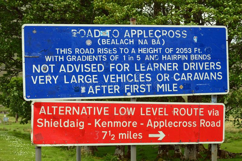 Warning Sign Applecross Road Scotland. Bealach na Bà is a winding, single track road through the mountains of the Applecross peninsula, in Wester Ross in the royalty free stock photos