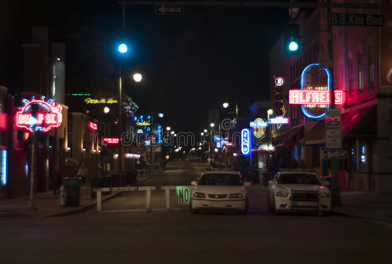 Beale Street, Memphis Tennessee Downtown. Beale Street, home of the blues, Memphis, TN with Police Cars royalty free stock images