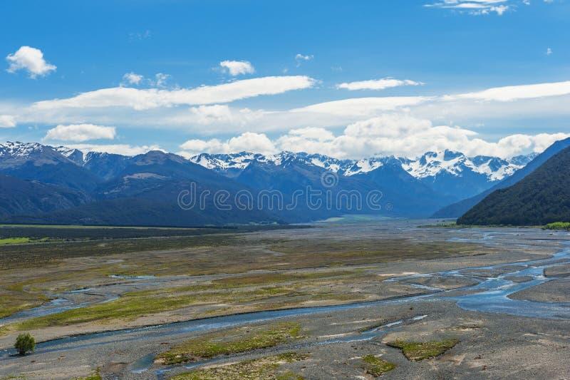 Bealeyrivier in Arthur Pass stock foto's