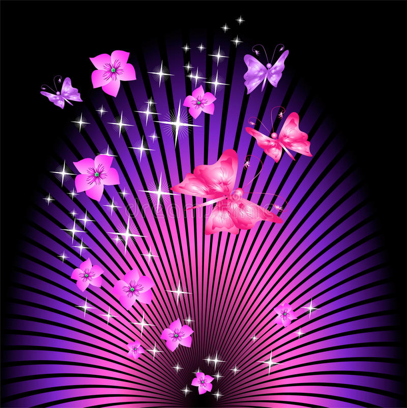 Beam background with flowers and butterfly vector illustration