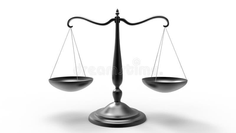 Beam Balance Scale 3d Rendering. On white background stock illustration