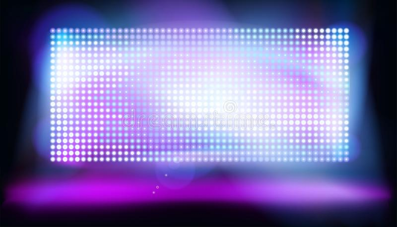 Big led projection screen. Vector illustration. Big led screen on stage. Glowing dots, display pixels. Purple abstract background. Vector illustration stock illustration