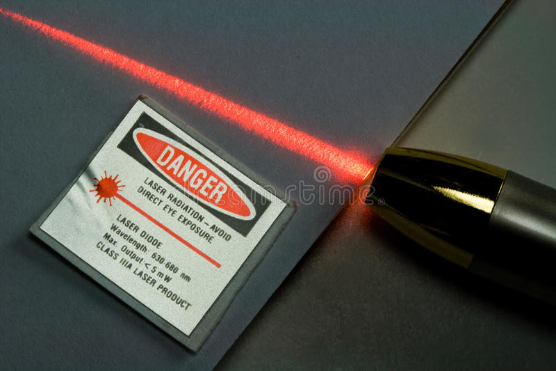 Beam of Red Laser Light stock photos