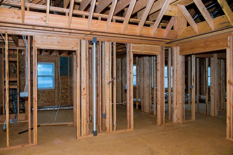 Beam stick built frame of a new house under construction royalty free stock photography