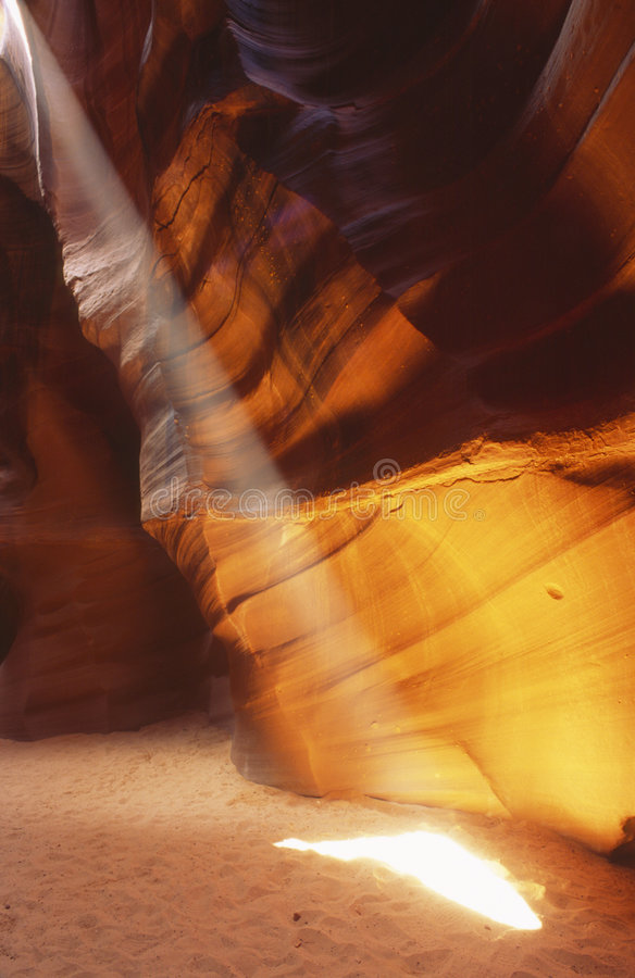 Beam of sunlight in slot canyon royalty free stock images