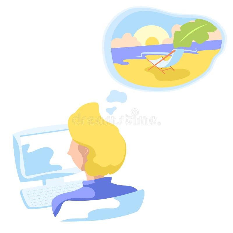 Beambte die over tropisch strand dromen Zonnig strand met ligstoel en palmblad in dromen vector illustratie