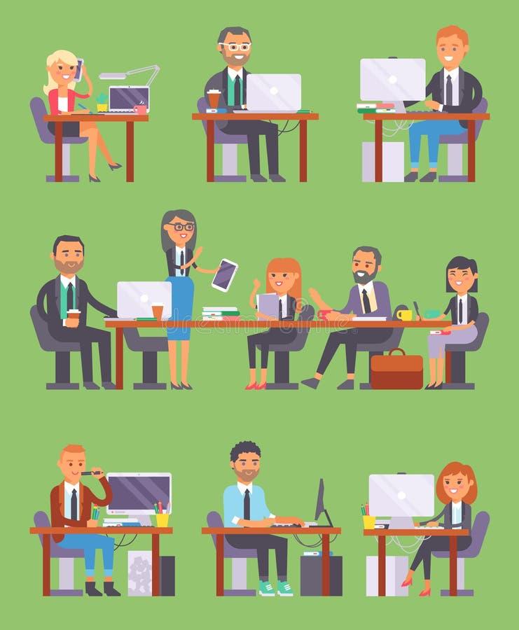 Beambte of persoon die Flatr de de vector van de bedrijfsmensenwerkplaats aan laptop en PC bij de lijst in bureaumedewerker werke royalty-vrije illustratie