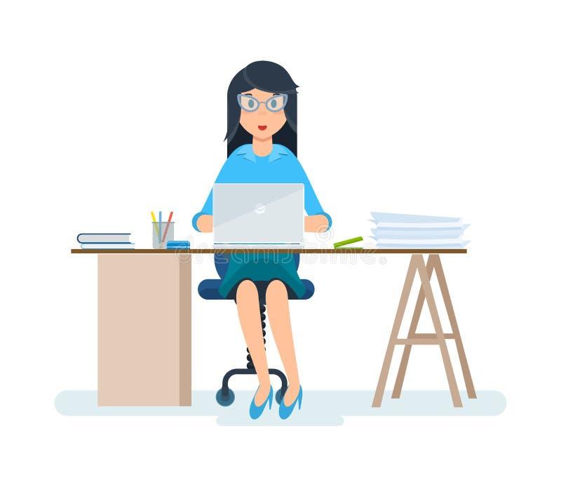 Beambte, in strikte kleren, die bij computer in kabinet werken stock illustratie