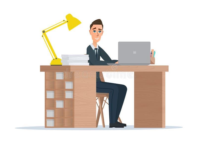 Beambtemens achter een Desktop Vector Geïsoleerdel illustratie royalty-vrije illustratie
