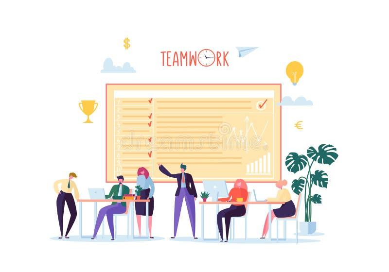 Beambten die met Computers werken Vlakke Bedrijfsmensenkarakters met Laptop Team Work Organization Concept stock illustratie
