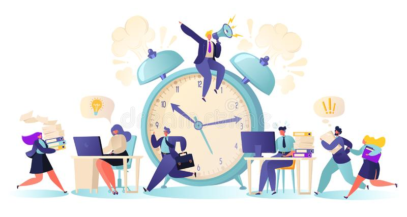 Beambten en bedrijfsmensen die overwerk werken bij Uiterste termijn royalty-vrije illustratie