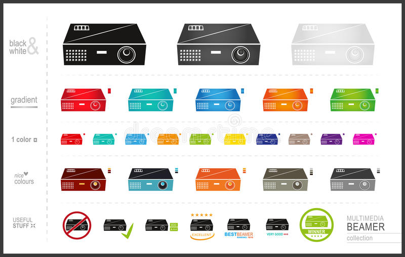 Beamer Icons Collection Set stock illustration