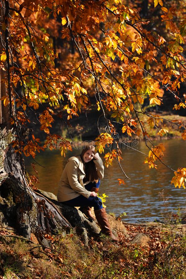 Beaming Joy in an Autumn Morning stock photography