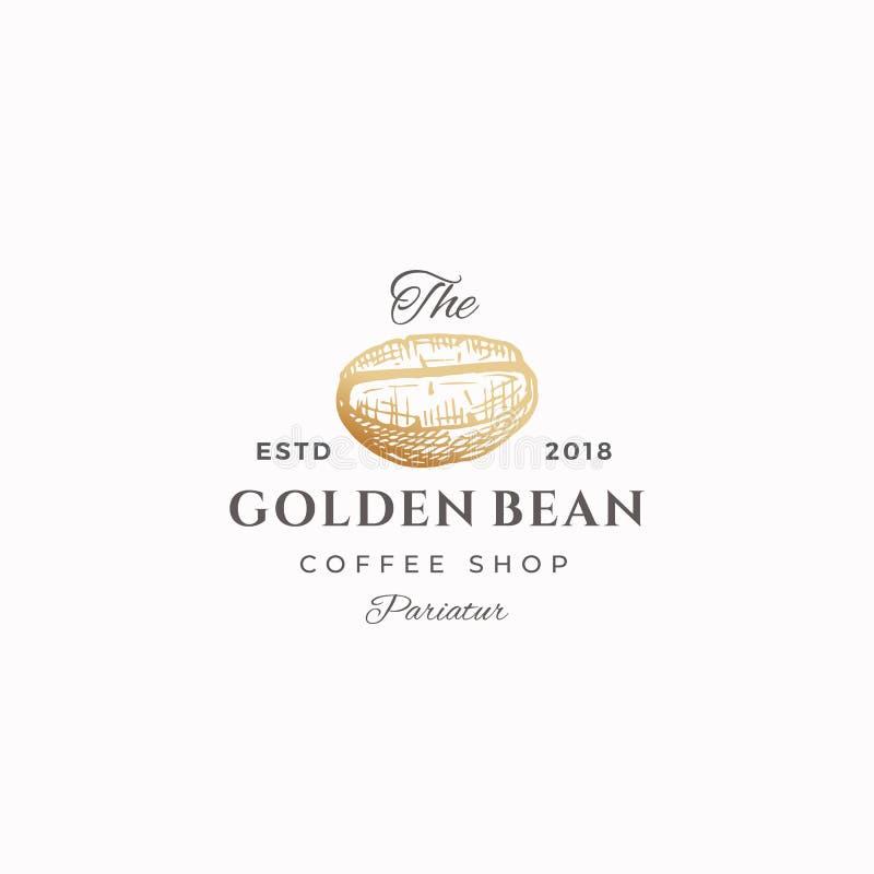 Bean Abstract Vector Sign d'or, symbole ou Logo Template Café tiré par la main Bean Sketch Sillhouette avec élégant illustration de vecteur