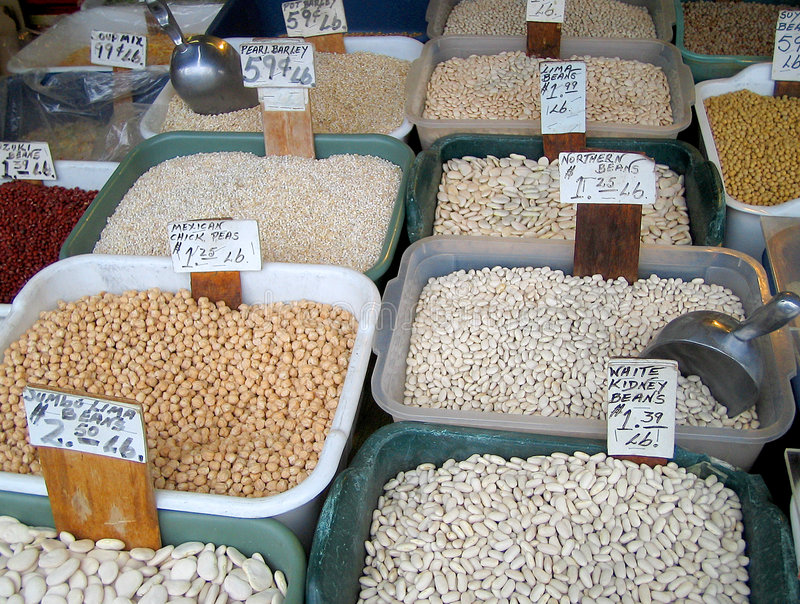 Download Bean bins stock image. Image of price, markets, shop, marketplace - 190959