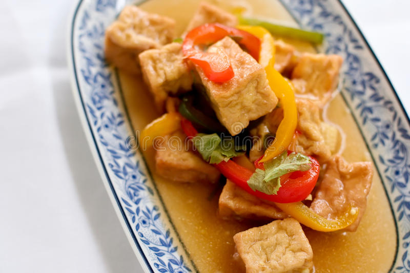 Bean curd. In Thai style which can be found in local Thai restaurant royalty free stock photography
