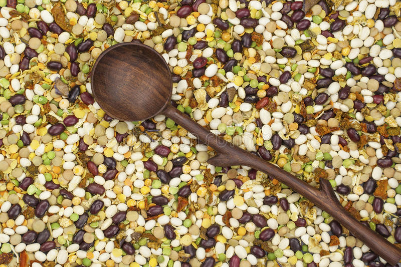 Bean , peas mix with spice and wooden spoon royalty free stock photos