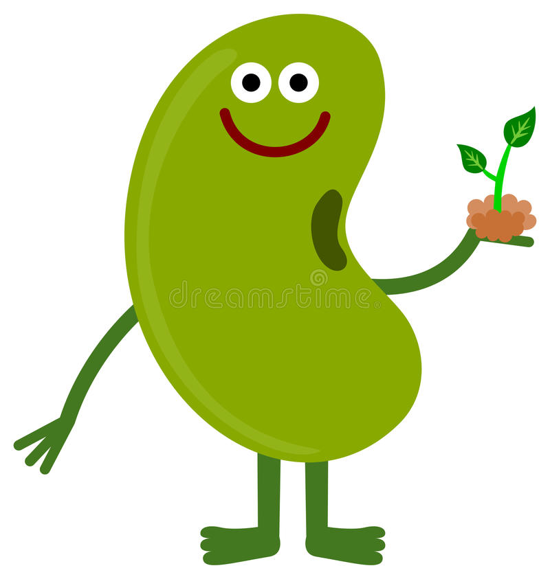 Bean and plant. Illustration of a cute cartoon bean holding a plant stock illustration