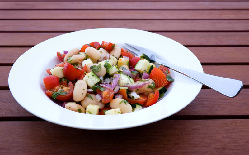 Bean Salad. In Bowl on Outdoor Table royalty free stock photo