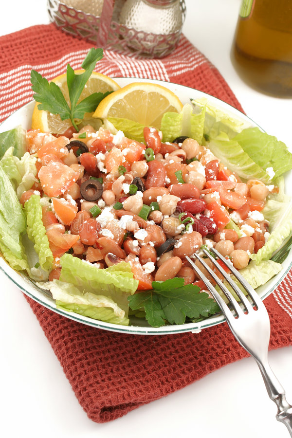 Bean salad. Fresh and healthy mediterranean style bean salad stock image