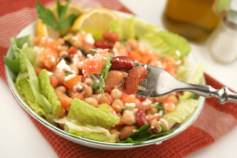 Bean salad. Fresh and healthy mediterranean style bean salad stock photo