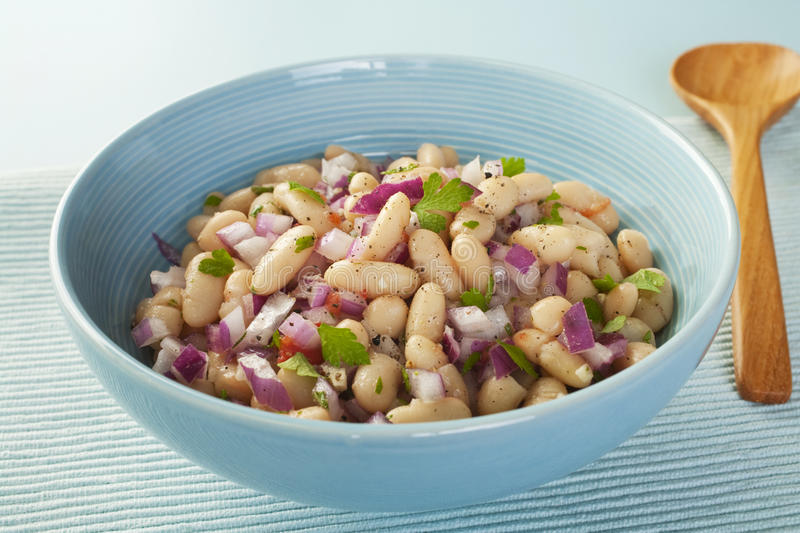 Bean Salad. Italian cannelini bean salad of beans in lemon vinaigrette with red onion, rosemary, parsley and garlic royalty free stock photo