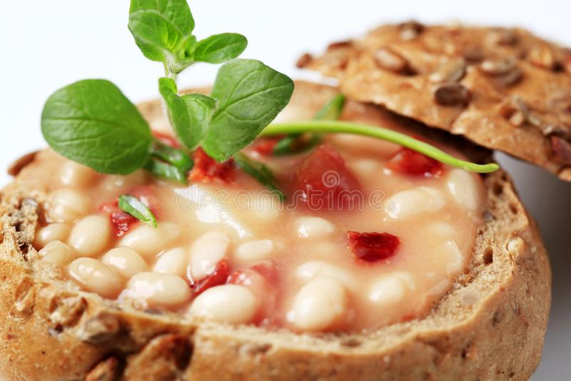 Bean soup in bread bowl royalty free stock photo