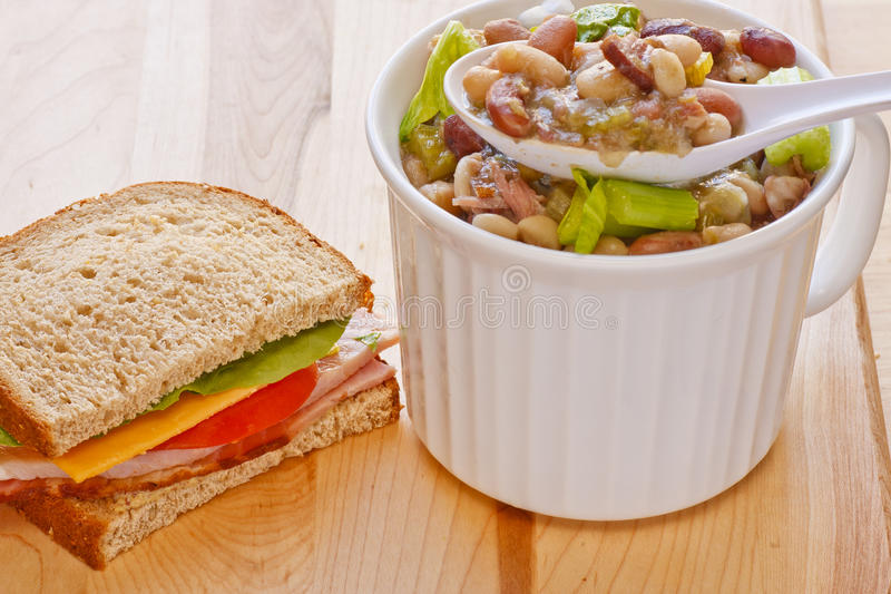 Download Bean Soup And Half Ham Sandwich Stock Photo - Image: 23511642
