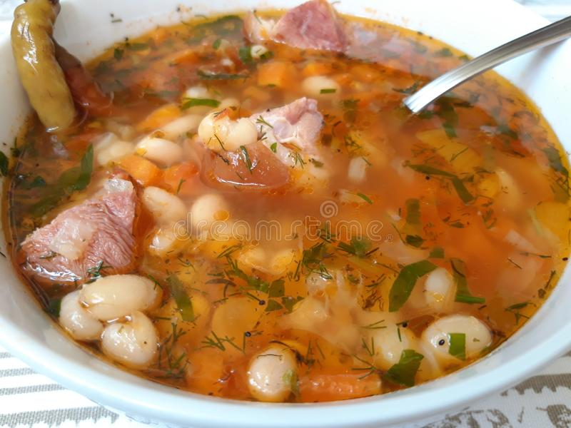 Bean Soup with Smoked Pork Meat stock photos