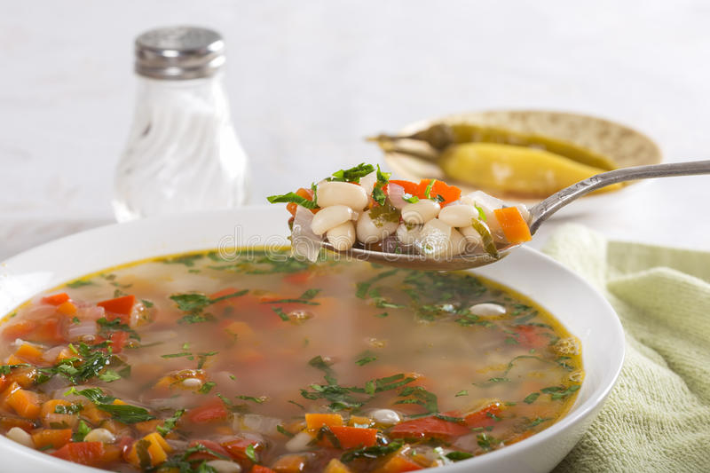Bean soup with vegetables stock images