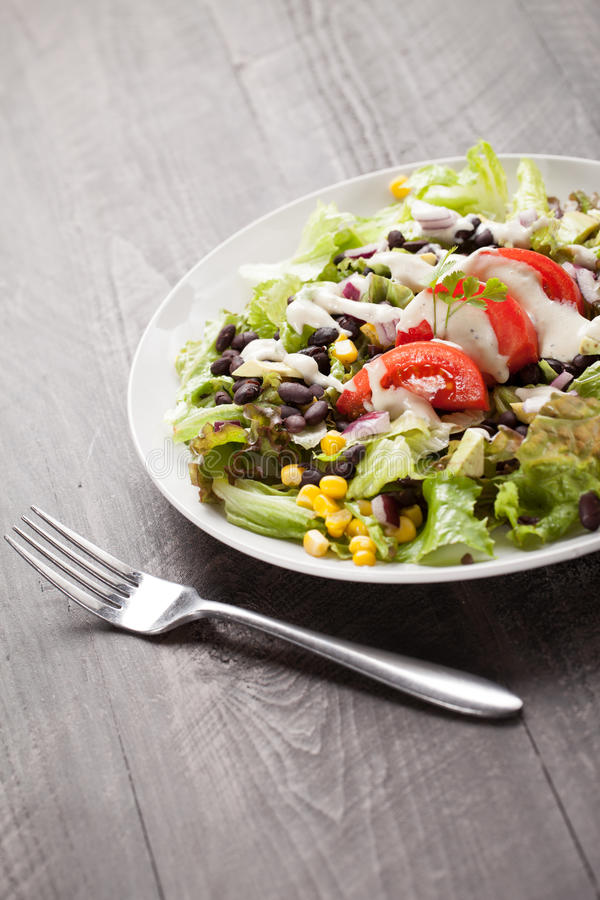 Bean Southwest Salad negro con la bifurcación foto de archivo