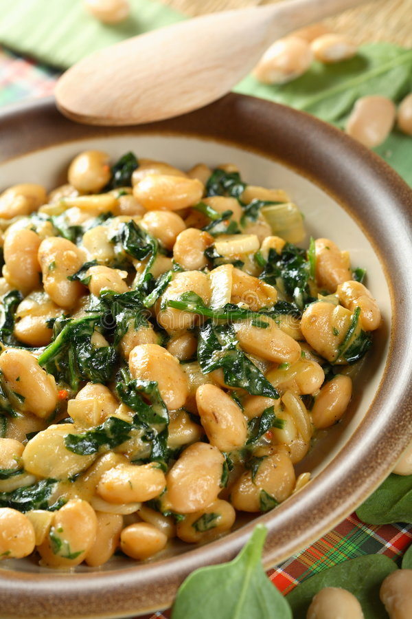 Bean with spinach stock images