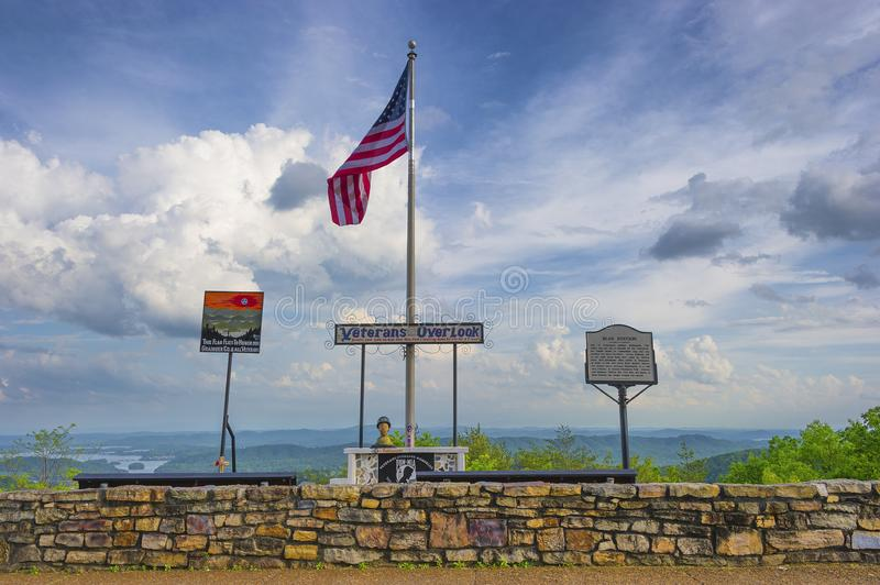 Veterans Overlook Bean Station Tennessee. Bean Station, Tennessee, USA - May 3, 2019:  Veterans Overlook.  Memorial for veterans that looks over a valley where royalty free stock image