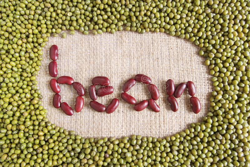 Bean-Text gemacht durch Gruppe Bohnen und Linsen stockfotografie