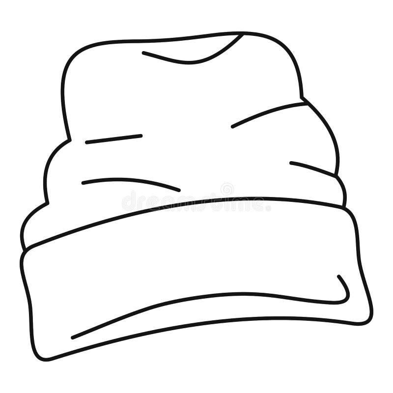 Beanie kapeluszowa ikona, konturu styl ilustracja wektor