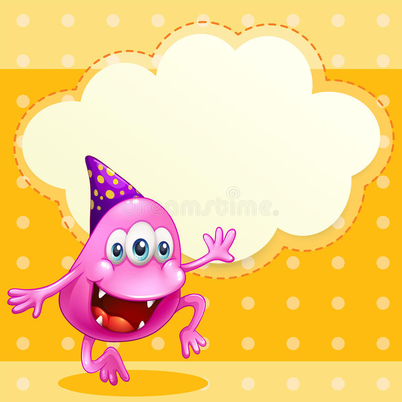 Download A Beanie Monster With A Purple Hat Celebrating Royalty Free Stock Photos - Image: 33908878