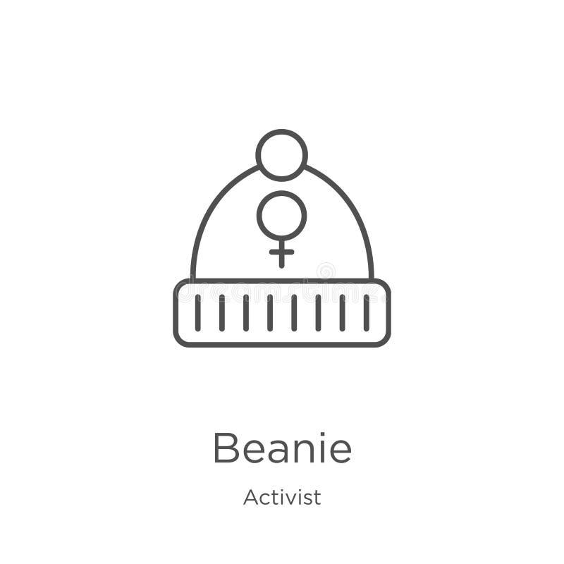 beanie pictogramvector van activisteninzameling De dunne lijn beanie schetst pictogram vectorillustratie Overzicht, dun lijn bean vector illustratie