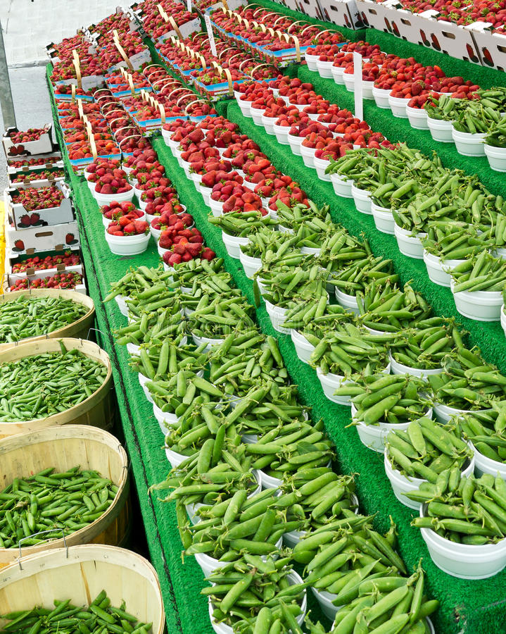 Free Beans And Strawberries At Market Stock Image - 25578991