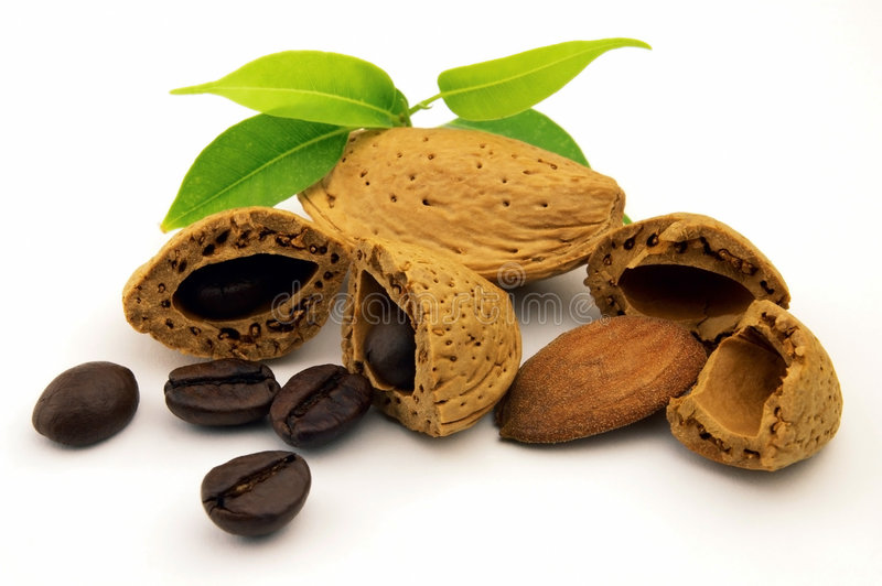 Beans coffee and amande stock images