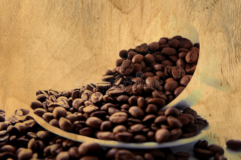 Beans of coffee paint at wood. Plate royalty free stock images