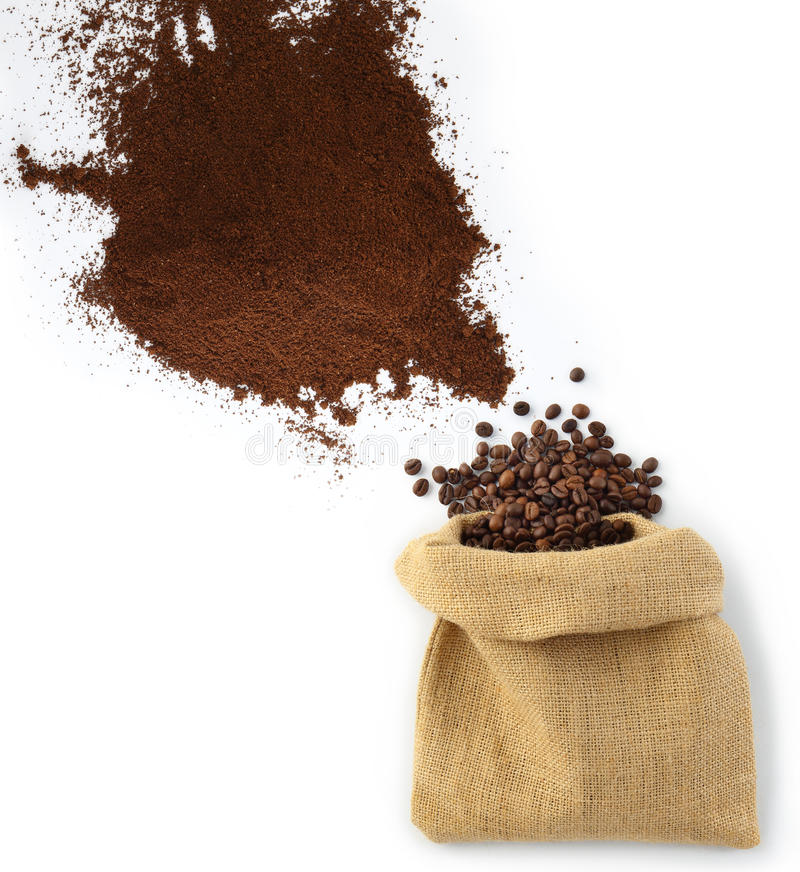 Beans and coffee powder with bag. Beans and coffee powder with jute bag as seen from above stock photo