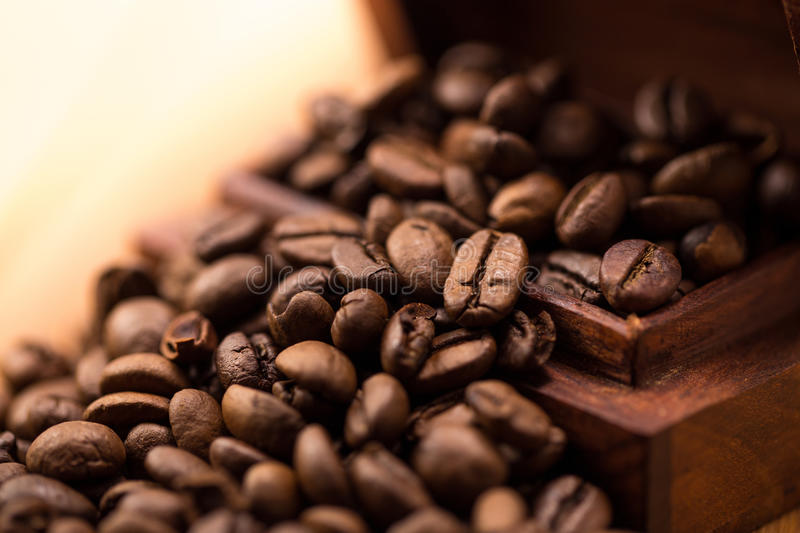 Beans coffee. Wooden box with beans coffee stock photo